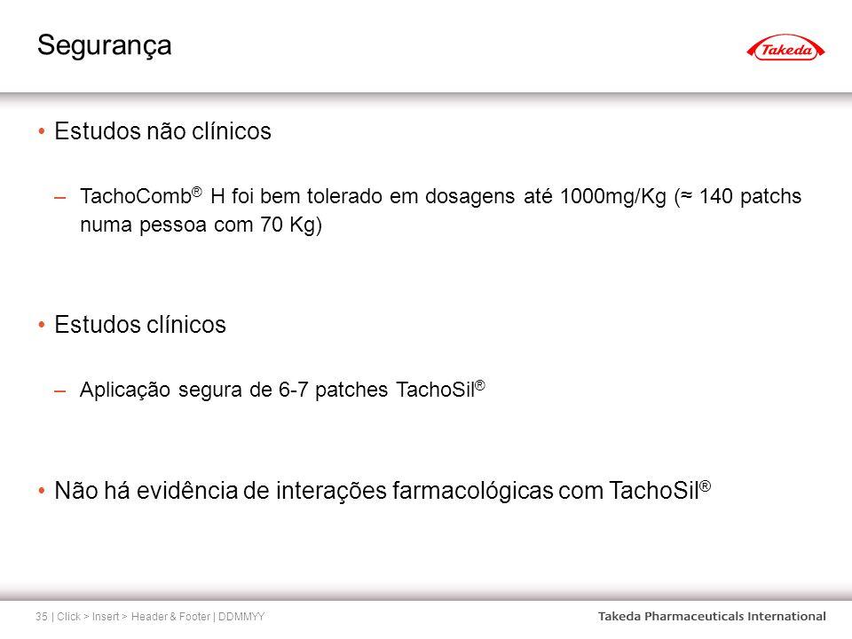 Segurança | Click > Insert > Header & Footer | DDMMYY35 Estudos não clínicos –TachoComb ® H foi bem tolerado em dosagens até 1000mg/Kg ( 140 patchs nu