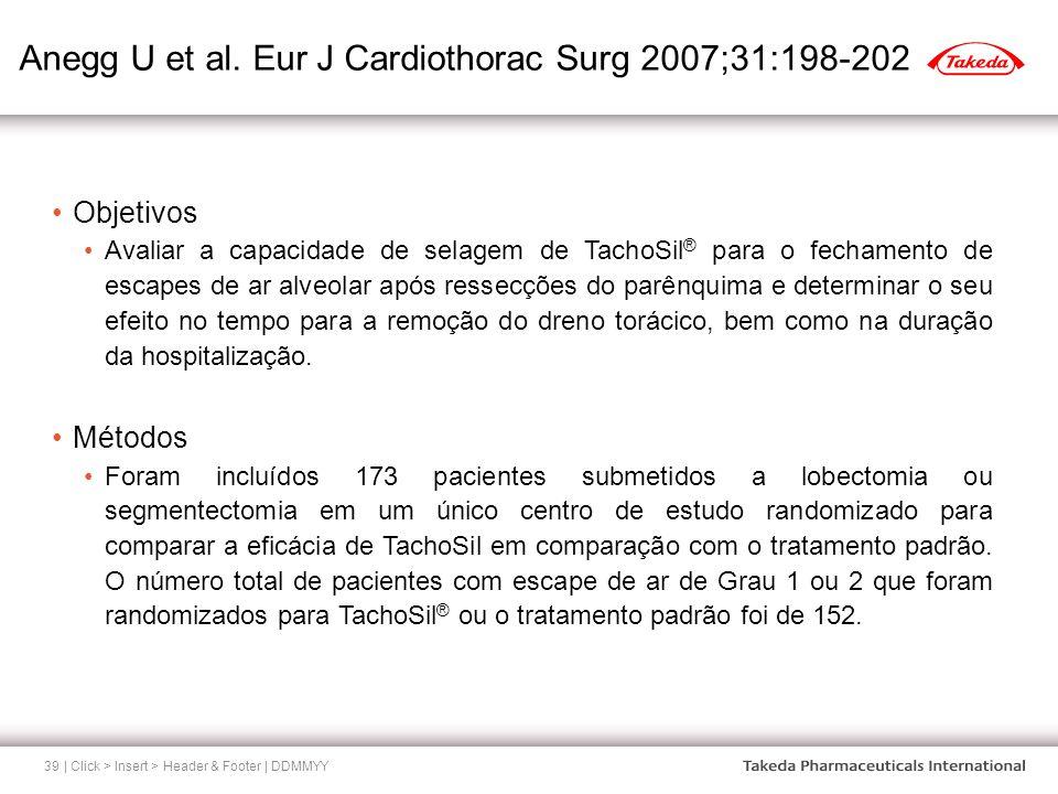Anegg U et al. Eur J Cardiothorac Surg 2007;31:198-202 | Click > Insert > Header & Footer | DDMMYY39 Objetivos Avaliar a capacidade de selagem de Tach