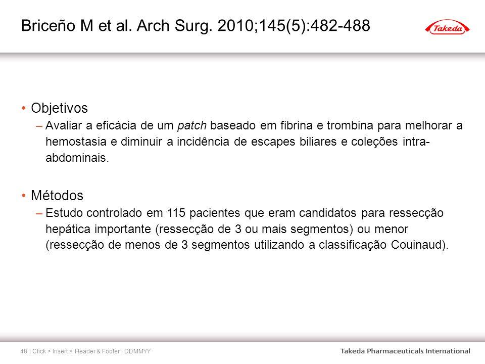 Briceño M et al. Arch Surg. 2010;145(5):482-488 | Click > Insert > Header & Footer | DDMMYY48 Objetivos –Avaliar a eficácia de um patch baseado em fib