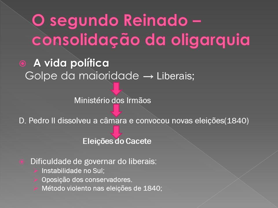 A vida política Golpe da maioridade Liberais; Ministério dos Irmãos D. Pedro II dissolveu a câmara e convocou novas eleições(1840) Eleições do Cacete