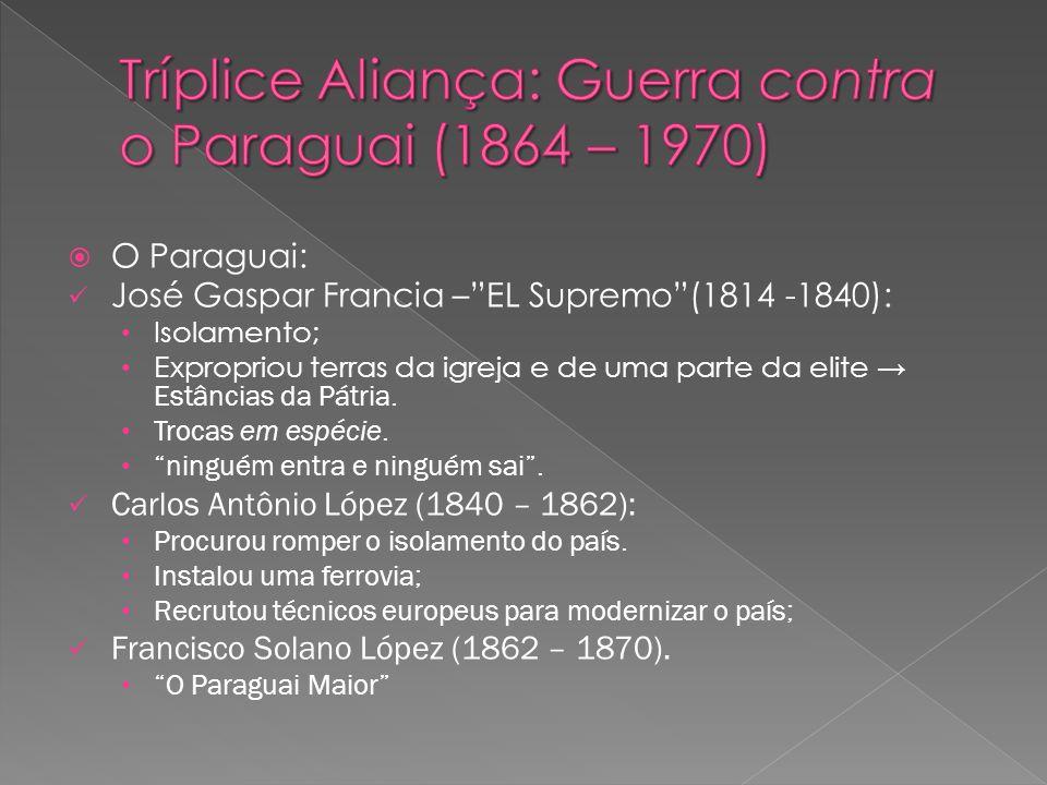 O Paraguai: José Gaspar Francia –EL Supremo(1814 -1840): Isolamento; Expropriou terras da igreja e de uma parte da elite Estâncias da Pátria. Trocas e
