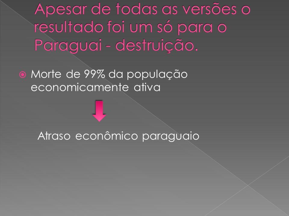 Morte de 99% da população economicamente ativa Atraso econômico paraguaio