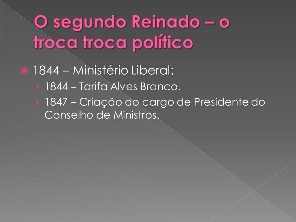 1844 – Ministério Liberal: 1844 – Tarifa Alves Branco. 1847 – Criação do cargo de Presidente do Conselho de Ministros.