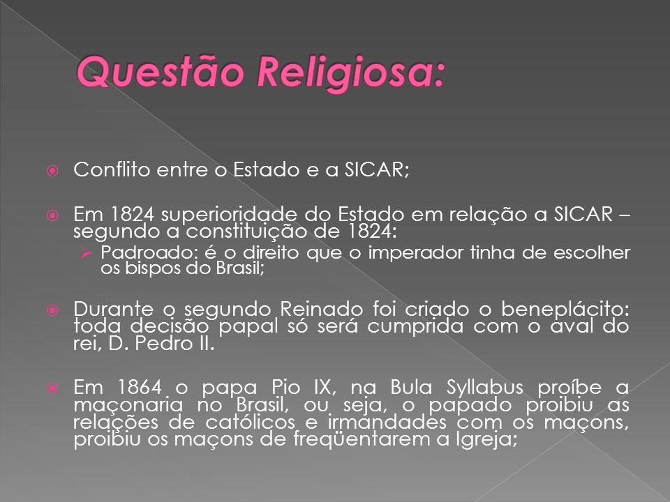 Conflito entre o Estado e a SICAR; Em 1824 superioridade do Estado em relação a SICAR – segundo a constituição de 1824: Padroado: é o direito que o im