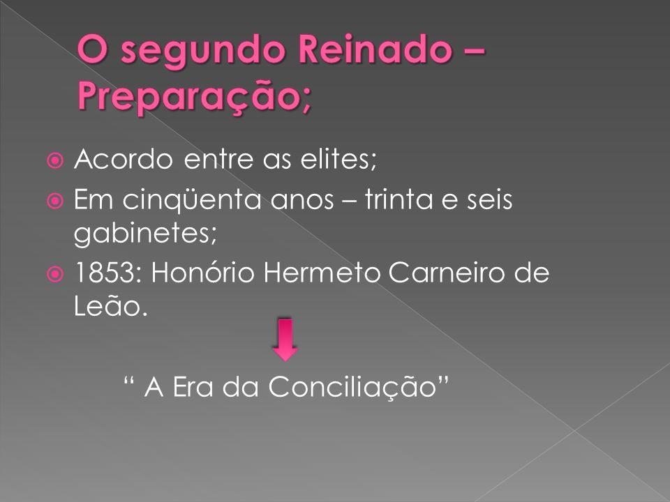 Acordo entre as elites; Em cinqüenta anos – trinta e seis gabinetes; 1853: Honório Hermeto Carneiro de Leão. A Era da Conciliação