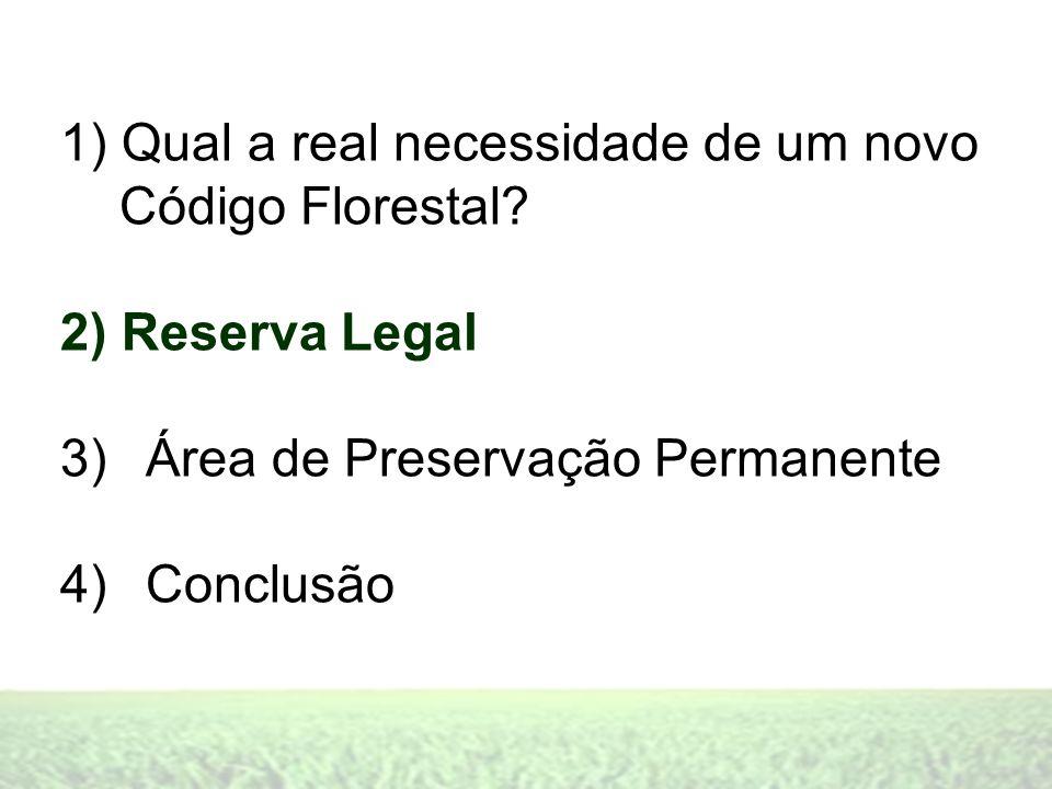 1) Qual a real necessidade de um novo Código Florestal? 2) Reserva Legal 3)Área de Preservação Permanente 4)Conclusão
