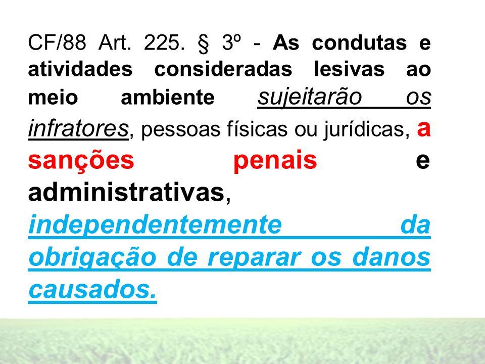 CF/88 Art. 225. § 3º - As condutas e atividades consideradas lesivas ao meio ambiente sujeitarão os infratores, pessoas físicas ou jurídicas, a sançõe