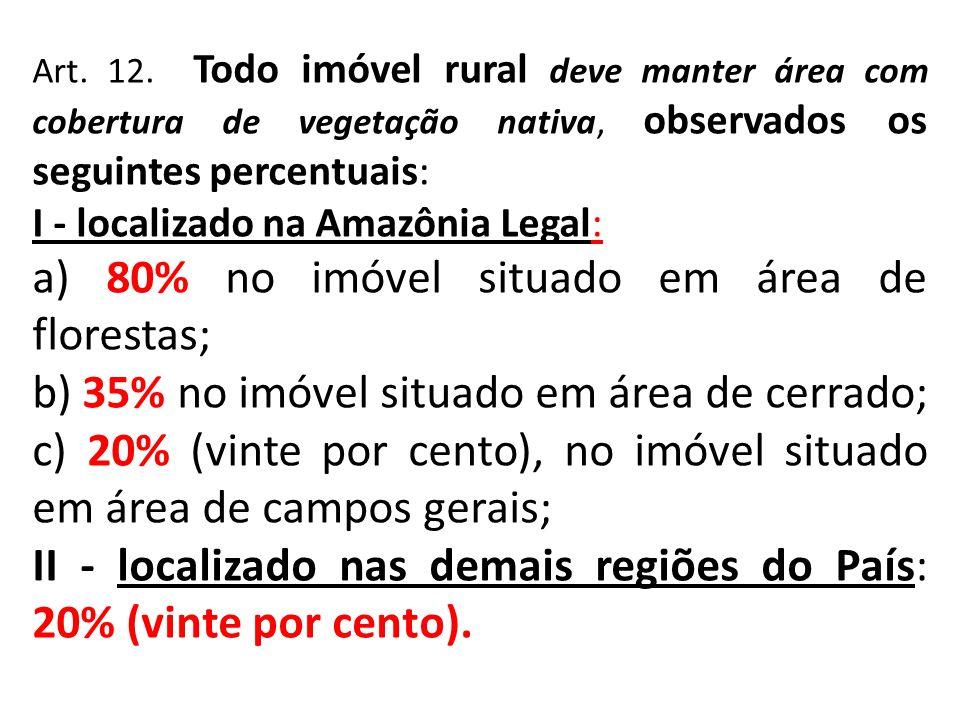 Art. 12. Todo imóvel rural deve manter área com cobertura de vegetação nativa, observados os seguintes percentuais: I - localizado na Amazônia Legal: