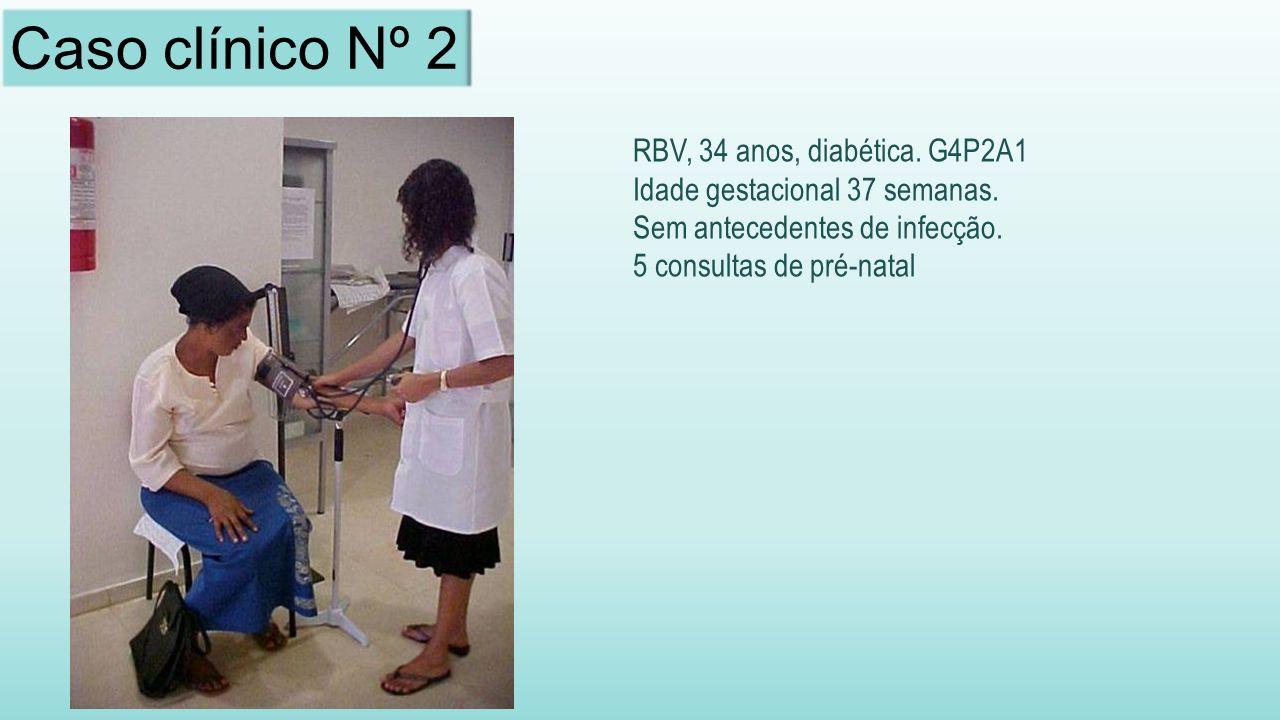 RBV, 34 anos, diabética.G4P2A1 Idade gestacional 37 semanas.