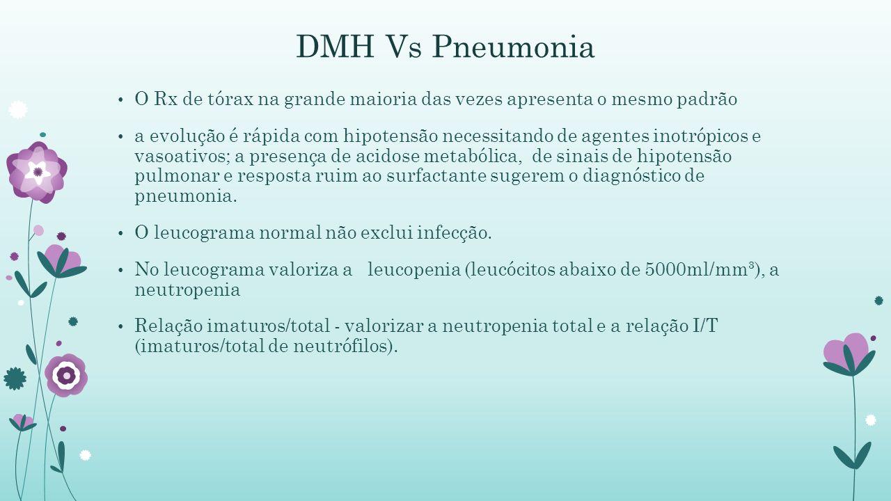 DMH Vs Pneumonia O Rx de tórax na grande maioria das vezes apresenta o mesmo padrão a evolução é rápida com hipotensão necessitando de agentes inotrópicos e vasoativos; a presença de acidose metabólica, de sinais de hipotensão pulmonar e resposta ruim ao surfactante sugerem o diagnóstico de pneumonia.
