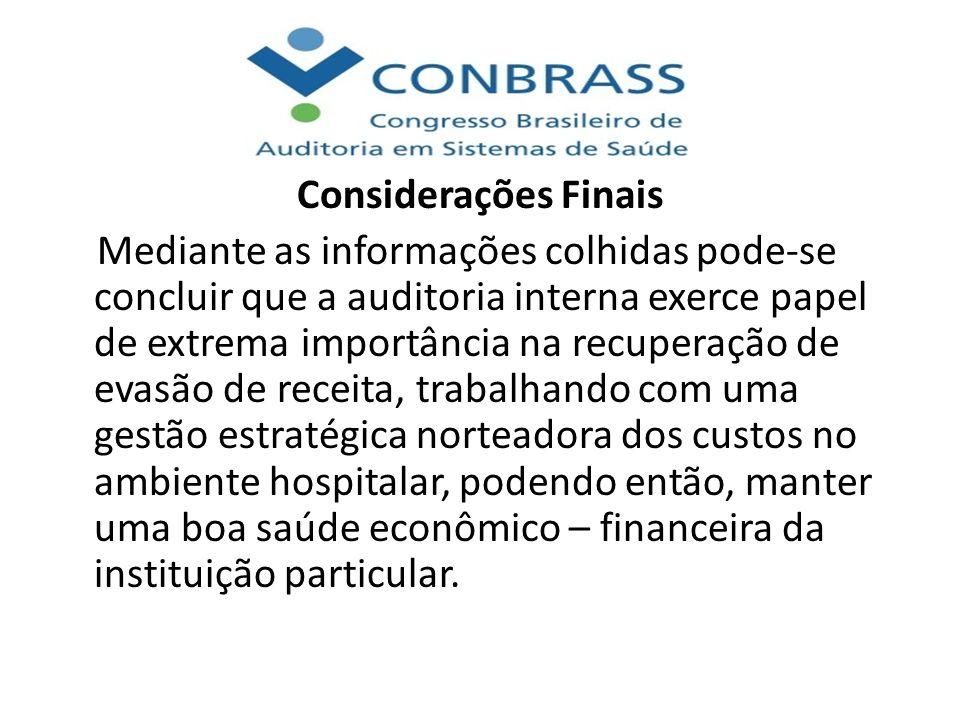 Considerações Finais Mediante as informações colhidas pode-se concluir que a auditoria interna exerce papel de extrema importância na recuperação de e