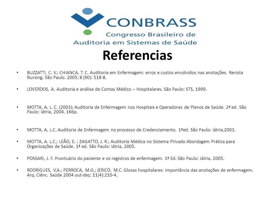 Referencias BUZZATTI, C. V.; CHIANCA, T. C. Auditoria em Enfermagem: erros e custos envolvidos nas anotações. Revista Nursing. São Paulo. 2005; 8 (90)