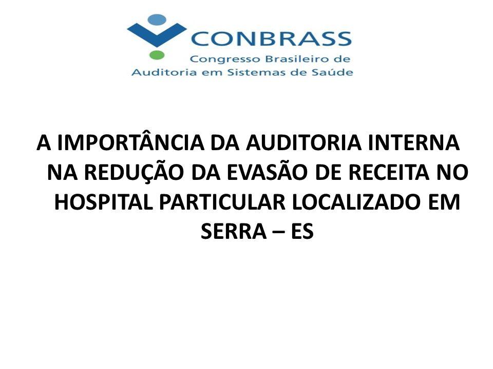 A IMPORTÂNCIA DA AUDITORIA INTERNA NA REDUÇÃO DA EVASÃO DE RECEITA NO HOSPITAL PARTICULAR LOCALIZADO EM SERRA – ES