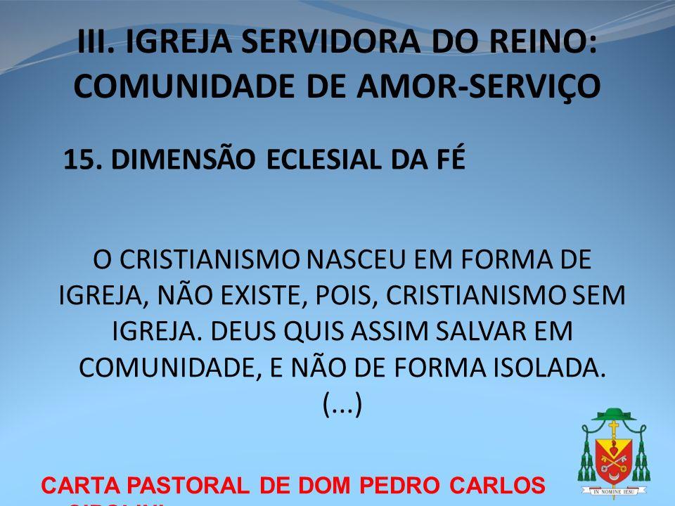 CARTA PASTORAL DE DOM PEDRO CARLOS CIPOLINI III. IGREJA SERVIDORA DO REINO: COMUNIDADE DE AMOR-SERVIÇO 15. DIMENSÃO ECLESIAL DA FÉ O CRISTIANISMO NASC