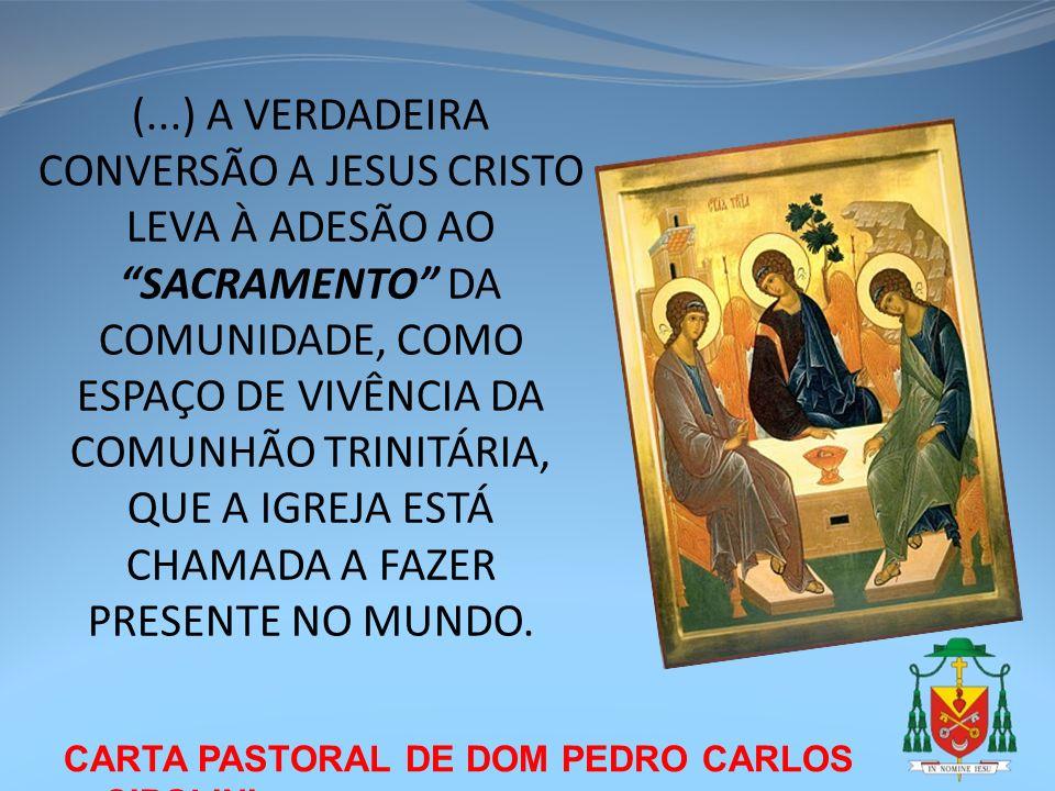 CARTA PASTORAL DE DOM PEDRO CARLOS CIPOLINI (...) A VERDADEIRA CONVERSÃO A JESUS CRISTO LEVA À ADESÃO AO SACRAMENTO DA COMUNIDADE, COMO ESPAÇO DE VIVÊ