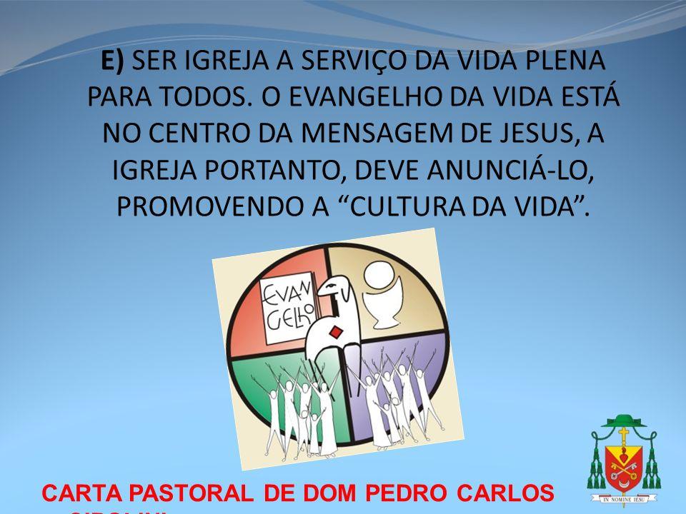 CARTA PASTORAL DE DOM PEDRO CARLOS CIPOLINI E) SER IGREJA A SERVIÇO DA VIDA PLENA PARA TODOS. O EVANGELHO DA VIDA ESTÁ NO CENTRO DA MENSAGEM DE JESUS,
