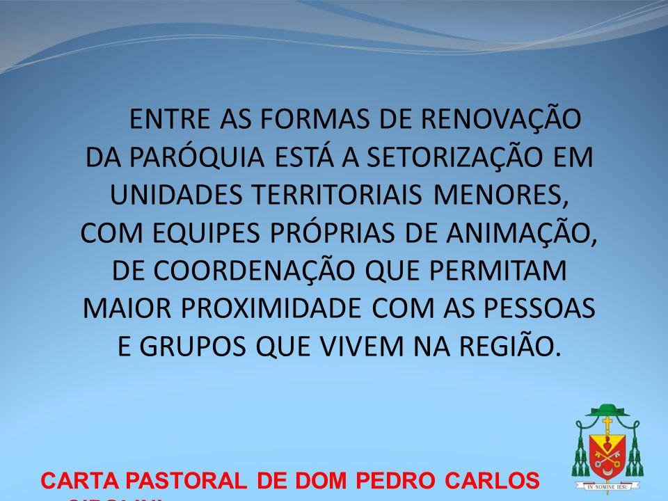 CARTA PASTORAL DE DOM PEDRO CARLOS CIPOLINI ENTRE AS FORMAS DE RENOVAÇÃO DA PARÓQUIA ESTÁ A SETORIZAÇÃO EM UNIDADES TERRITORIAIS MENORES, COM EQUIPES