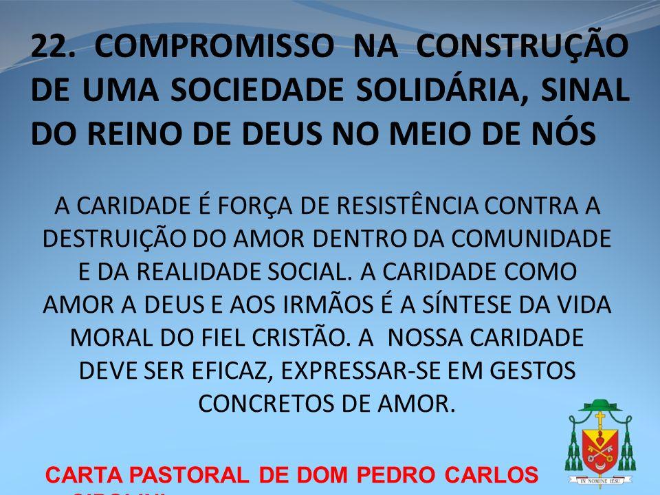 22. COMPROMISSO NA CONSTRUÇÃO DE UMA SOCIEDADE SOLIDÁRIA, SINAL DO REINO DE DEUS NO MEIO DE NÓS CARTA PASTORAL DE DOM PEDRO CARLOS CIPOLINI A CARIDADE