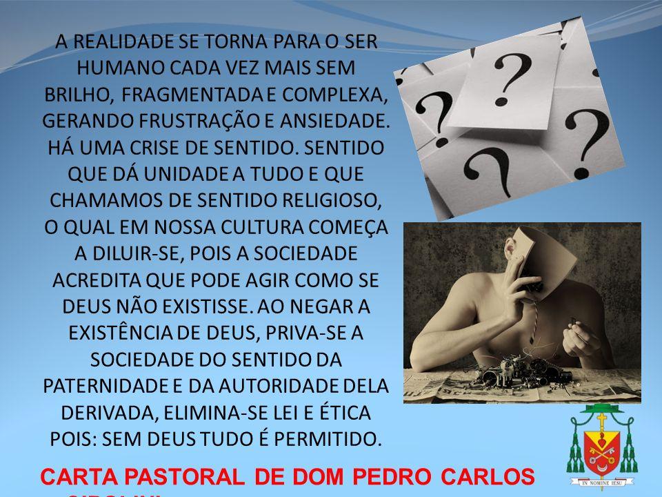 CARTA PASTORAL DE DOM PEDRO CARLOS CIPOLINI A REALIDADE SE TORNA PARA O SER HUMANO CADA VEZ MAIS SEM BRILHO, FRAGMENTADA E COMPLEXA, GERANDO FRUSTRAÇÃ