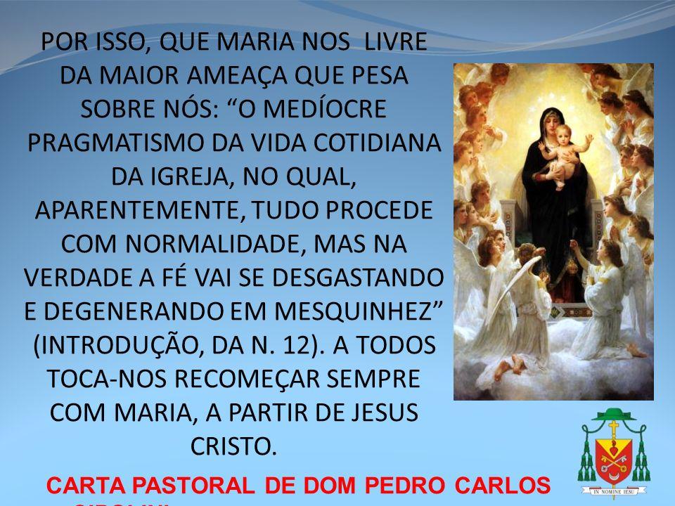 CARTA PASTORAL DE DOM PEDRO CARLOS CIPOLINI POR ISSO, QUE MARIA NOS LIVRE DA MAIOR AMEAÇA QUE PESA SOBRE NÓS: O MEDÍOCRE PRAGMATISMO DA VIDA COTIDIANA