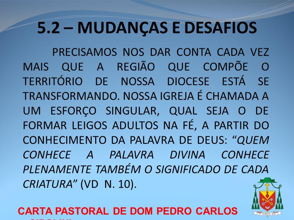 CARTA PASTORAL DE DOM PEDRO CARLOS CIPOLINI 5.2 – MUDANÇAS E DESAFIOS PRECISAMOS NOS DAR CONTA CADA VEZ MAIS QUE A REGIÃO QUE COMPÕE O TERRITÓRIO DE N