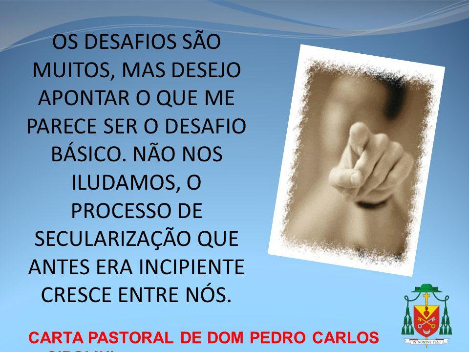 CARTA PASTORAL DE DOM PEDRO CARLOS CIPOLINI OS DESAFIOS SÃO MUITOS, MAS DESEJO APONTAR O QUE ME PARECE SER O DESAFIO BÁSICO. NÃO NOS ILUDAMOS, O PROCE