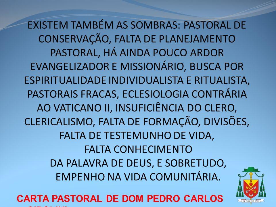 CARTA PASTORAL DE DOM PEDRO CARLOS CIPOLINI EXISTEM TAMBÉM AS SOMBRAS: PASTORAL DE CONSERVAÇÃO, FALTA DE PLANEJAMENTO PASTORAL, HÁ AINDA POUCO ARDOR E