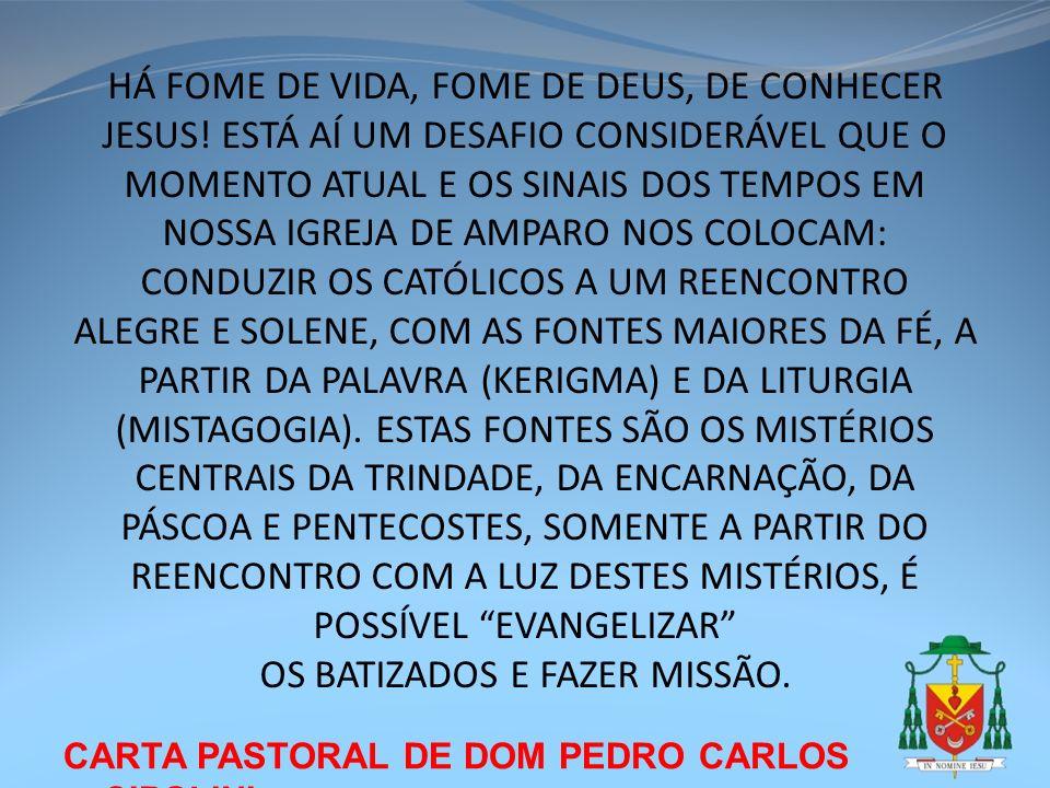 CARTA PASTORAL DE DOM PEDRO CARLOS CIPOLINI HÁ FOME DE VIDA, FOME DE DEUS, DE CONHECER JESUS! ESTÁ AÍ UM DESAFIO CONSIDERÁVEL QUE O MOMENTO ATUAL E OS