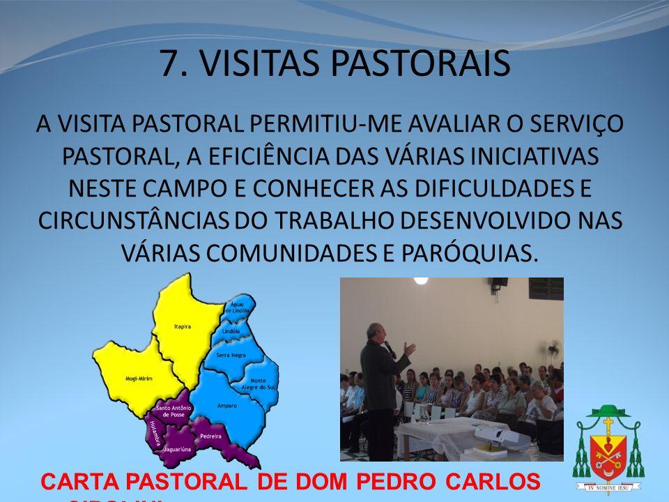 CARTA PASTORAL DE DOM PEDRO CARLOS CIPOLINI 7. VISITAS PASTORAIS A VISITA PASTORAL PERMITIU-ME AVALIAR O SERVIÇO PASTORAL, A EFICIÊNCIA DAS VÁRIAS INI