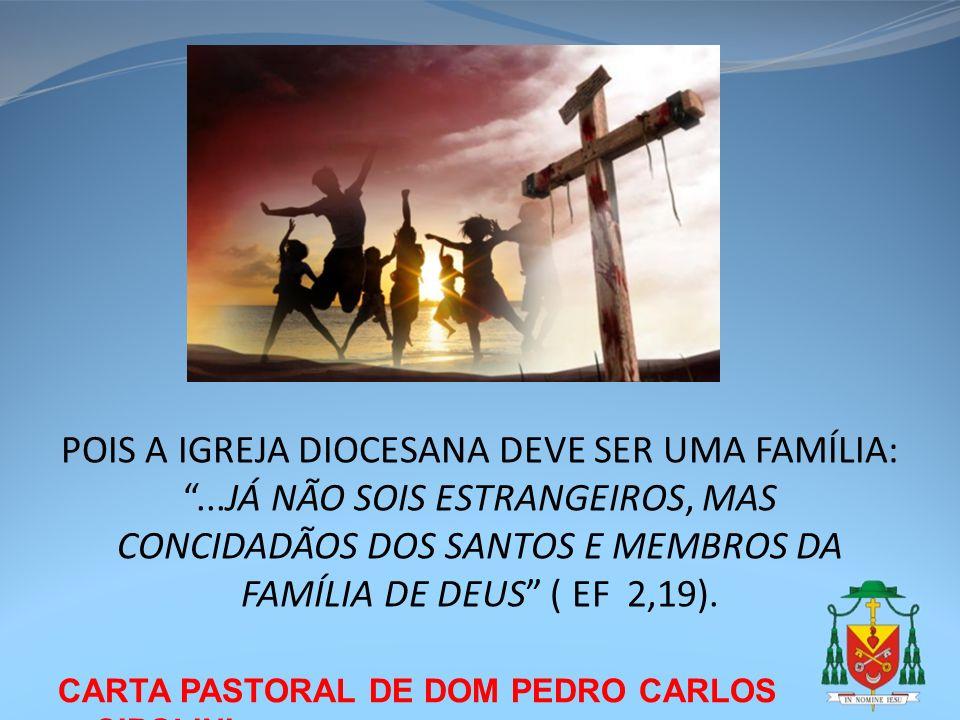 CARTA PASTORAL DE DOM PEDRO CARLOS CIPOLINI POIS A IGREJA DIOCESANA DEVE SER UMA FAMÍLIA:...JÁ NÃO SOIS ESTRANGEIROS, MAS CONCIDADÃOS DOS SANTOS E MEM