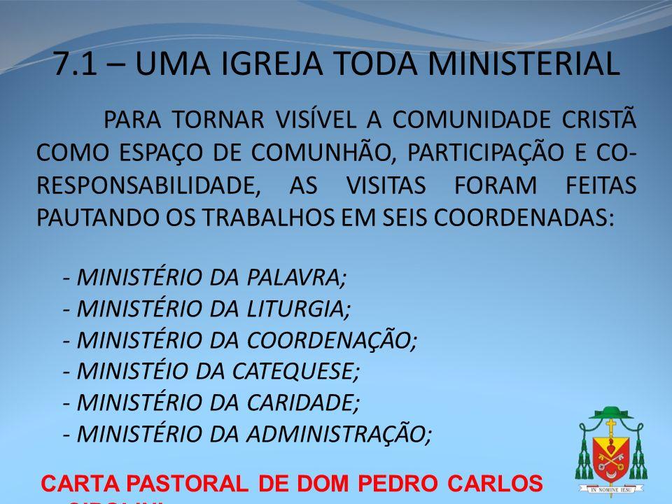 CARTA PASTORAL DE DOM PEDRO CARLOS CIPOLINI 7.1 – UMA IGREJA TODA MINISTERIAL PARA TORNAR VISÍVEL A COMUNIDADE CRISTÃ COMO ESPAÇO DE COMUNHÃO, PARTICI