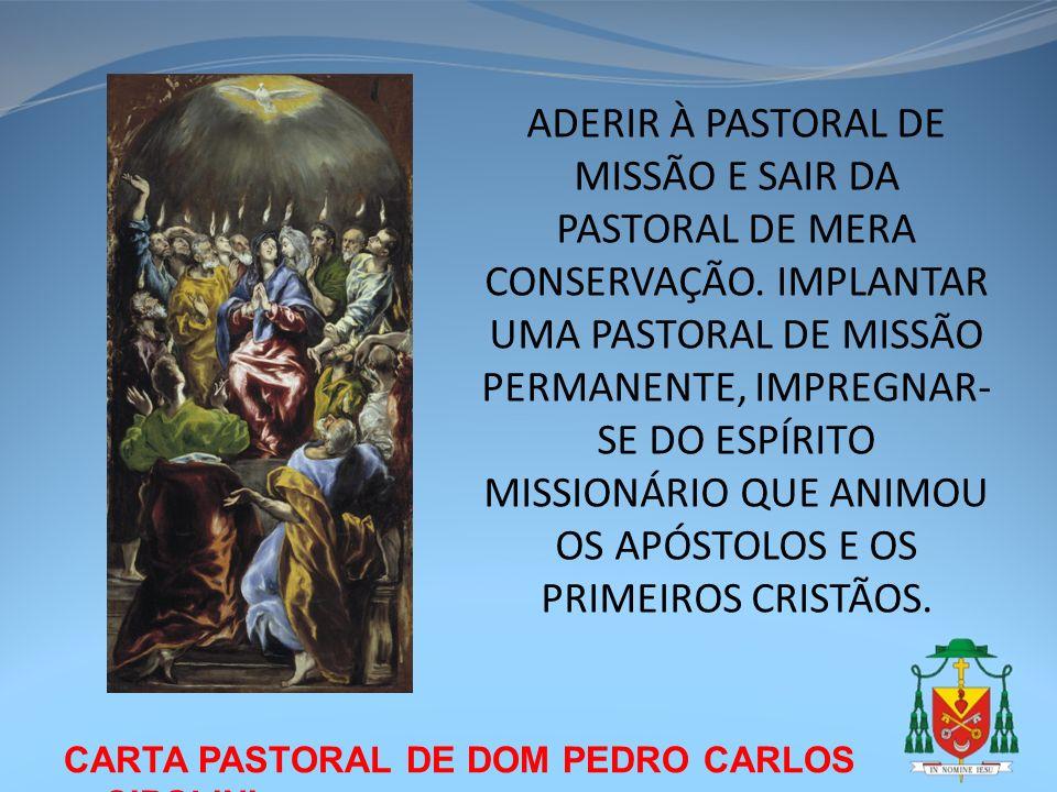 CARTA PASTORAL DE DOM PEDRO CARLOS CIPOLINI ADERIR À PASTORAL DE MISSÃO E SAIR DA PASTORAL DE MERA CONSERVAÇÃO. IMPLANTAR UMA PASTORAL DE MISSÃO PERMA