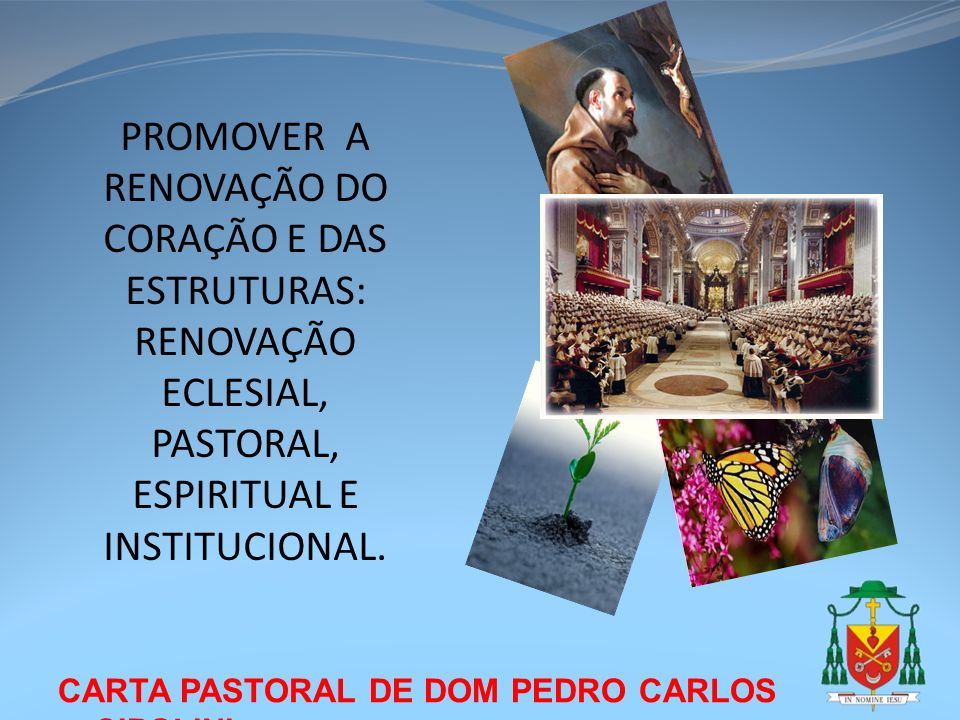 CARTA PASTORAL DE DOM PEDRO CARLOS CIPOLINI PROMOVER A RENOVAÇÃO DO CORAÇÃO E DAS ESTRUTURAS: RENOVAÇÃO ECLESIAL, PASTORAL, ESPIRITUAL E INSTITUCIONAL