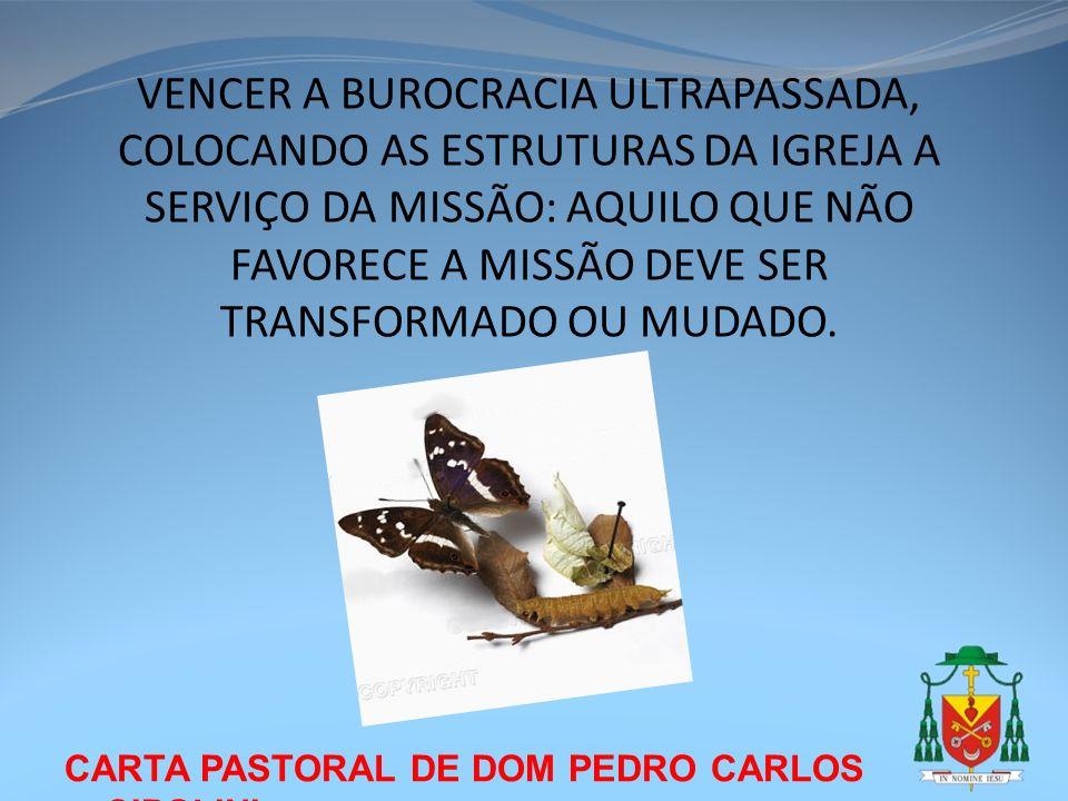 CARTA PASTORAL DE DOM PEDRO CARLOS CIPOLINI VENCER A BUROCRACIA ULTRAPASSADA, COLOCANDO AS ESTRUTURAS DA IGREJA A SERVIÇO DA MISSÃO: AQUILO QUE NÃO FA