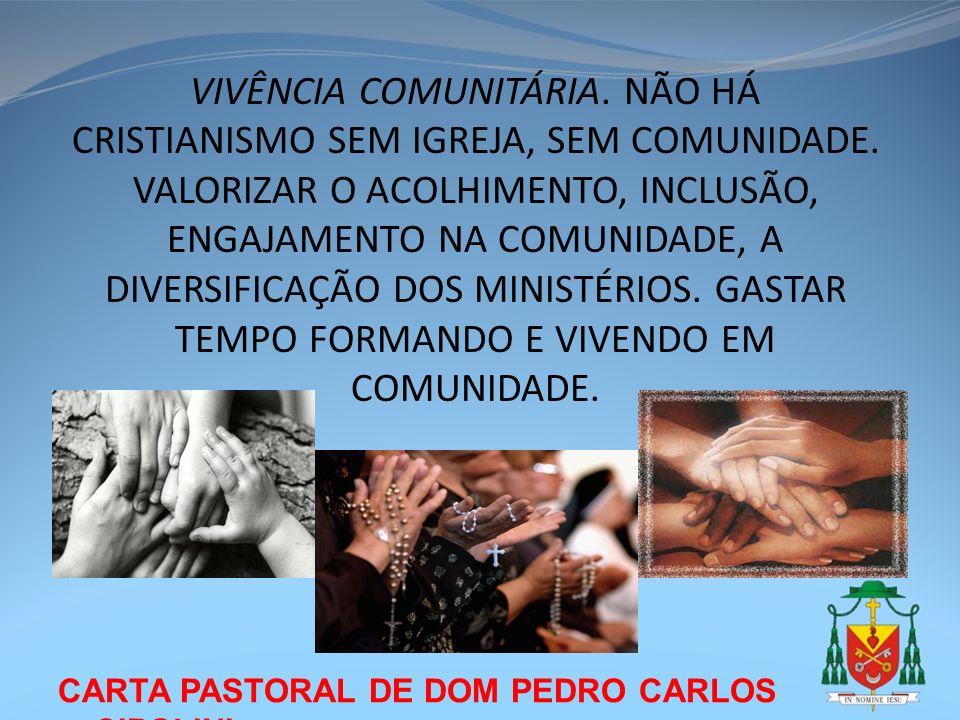 CARTA PASTORAL DE DOM PEDRO CARLOS CIPOLINI VIVÊNCIA COMUNITÁRIA. NÃO HÁ CRISTIANISMO SEM IGREJA, SEM COMUNIDADE. VALORIZAR O ACOLHIMENTO, INCLUSÃO, E