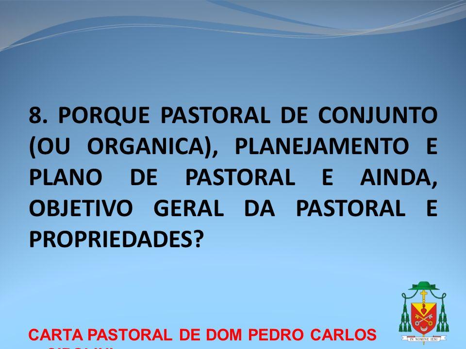 CARTA PASTORAL DE DOM PEDRO CARLOS CIPOLINI 8. PORQUE PASTORAL DE CONJUNTO (OU ORGANICA), PLANEJAMENTO E PLANO DE PASTORAL E AINDA, OBJETIVO GERAL DA