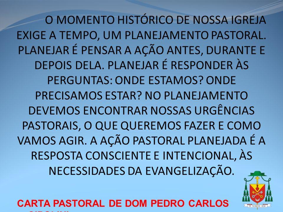 CARTA PASTORAL DE DOM PEDRO CARLOS CIPOLINI O MOMENTO HISTÓRICO DE NOSSA IGREJA EXIGE A TEMPO, UM PLANEJAMENTO PASTORAL. PLANEJAR É PENSAR A AÇÃO ANTE