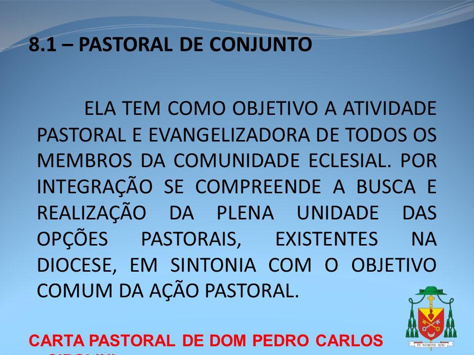 CARTA PASTORAL DE DOM PEDRO CARLOS CIPOLINI 8.1 – PASTORAL DE CONJUNTO ELA TEM COMO OBJETIVO A ATIVIDADE PASTORAL E EVANGELIZADORA DE TODOS OS MEMBROS