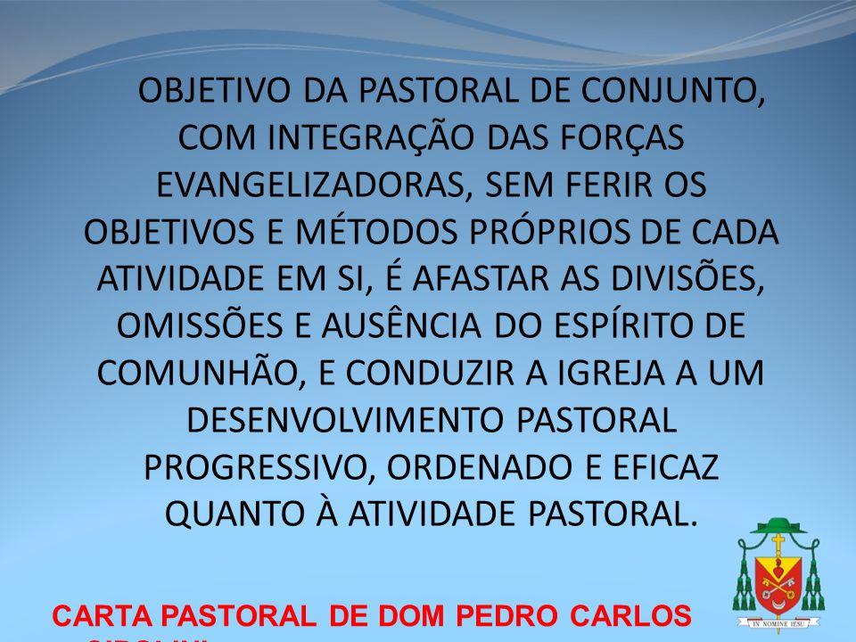 CARTA PASTORAL DE DOM PEDRO CARLOS CIPOLINI OBJETIVO DA PASTORAL DE CONJUNTO, COM INTEGRAÇÃO DAS FORÇAS EVANGELIZADORAS, SEM FERIR OS OBJETIVOS E MÉTO