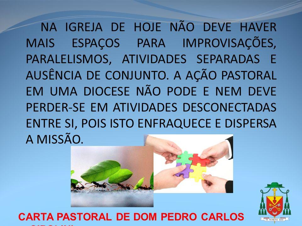 CARTA PASTORAL DE DOM PEDRO CARLOS CIPOLINI NA IGREJA DE HOJE NÃO DEVE HAVER MAIS ESPAÇOS PARA IMPROVISAÇÕES, PARALELISMOS, ATIVIDADES SEPARADAS E AUS