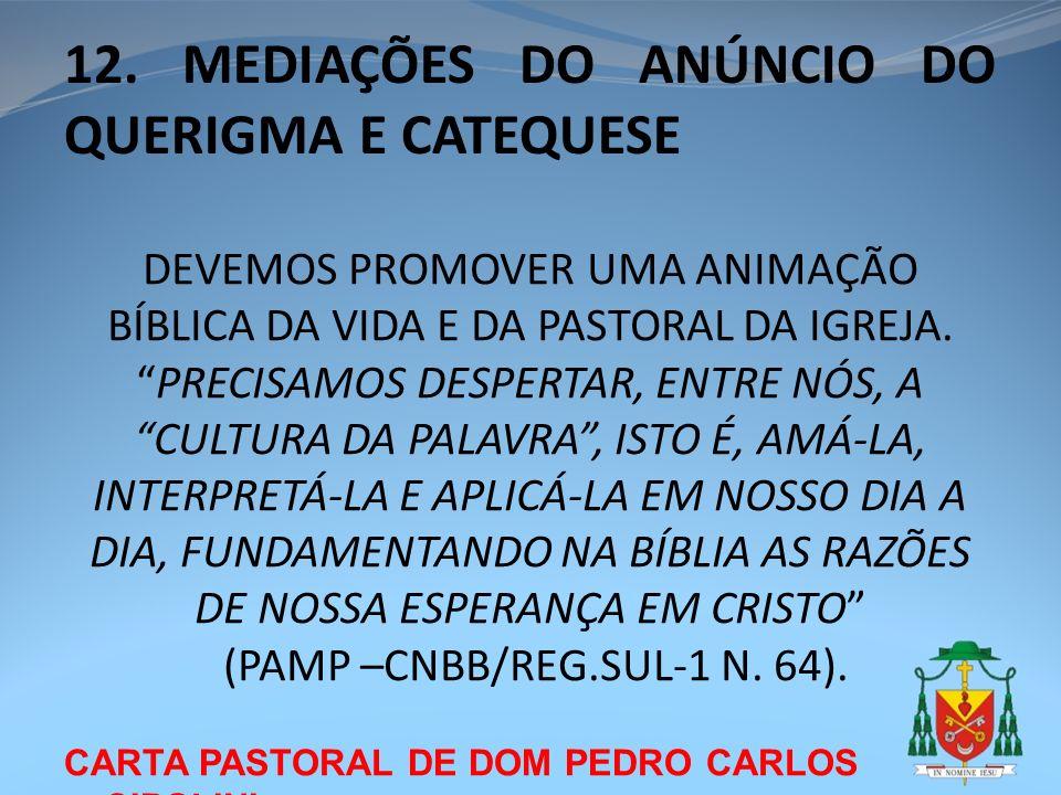 CARTA PASTORAL DE DOM PEDRO CARLOS CIPOLINI 12. MEDIAÇÕES DO ANÚNCIO DO QUERIGMA E CATEQUESE DEVEMOS PROMOVER UMA ANIMAÇÃO BÍBLICA DA VIDA E DA PASTOR