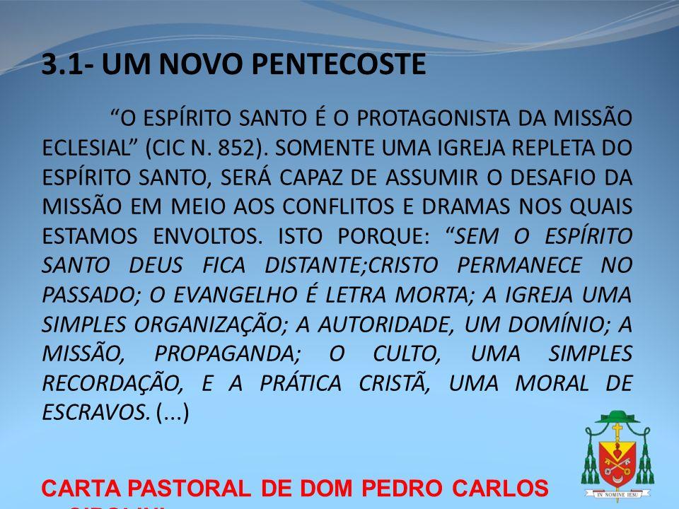 CARTA PASTORAL DE DOM PEDRO CARLOS CIPOLINI 3.1- UM NOVO PENTECOSTE O ESPÍRITO SANTO É O PROTAGONISTA DA MISSÃO ECLESIAL (CIC N. 852). SOMENTE UMA IGR