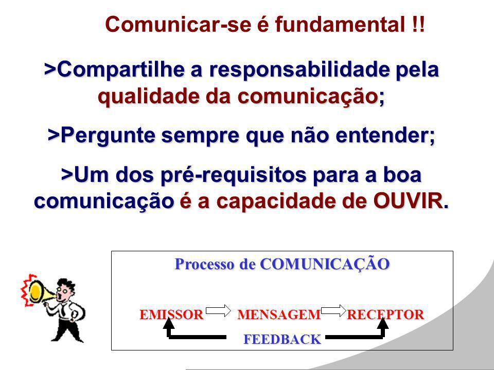 Comunicar-se é fundamental !! >Compartilhe a responsabilidade pela qualidade da comunicação; >Pergunte sempre que não entender; >Um dos pré-requisitos