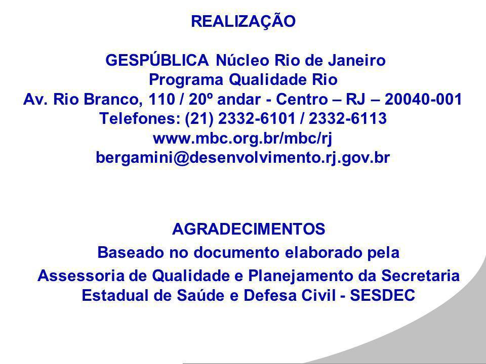 REALIZAÇÃO GESPÚBLICA Núcleo Rio de Janeiro Programa Qualidade Rio Av. Rio Branco, 110 / 20º andar - Centro – RJ – 20040-001 Telefones: (21) 2332-6101