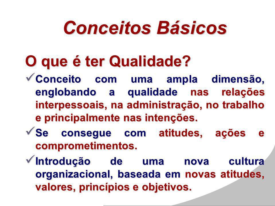 Conceitos Básicos O que é ter Qualidade? Conceito com uma ampla dimensão, englobando a qualidade nas relações interpessoais, na administração, no trab