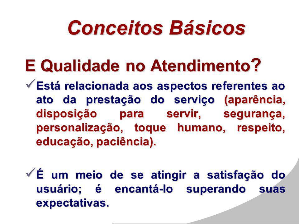Conceitos Básicos E Qualidade no Atendimento ? Está relacionada aos aspectos referentes ao ato da prestação do serviço (aparência, disposição para ser