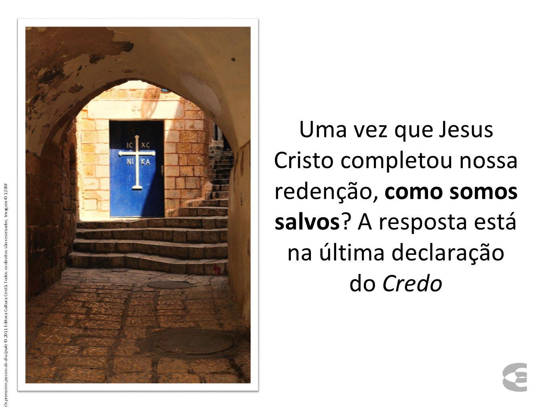 Creio no Espírito Santo; na santa igreja universal; na comunhão dos santos; na remissão dos pecados; na ressurreição do corpo; na vida eterna.