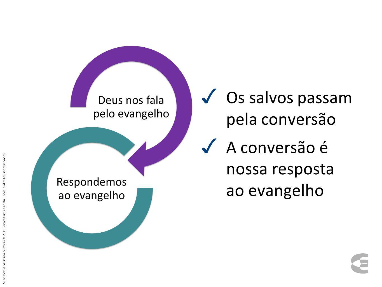 Os salvos passam pela conversão A conversão é nossa resposta ao evangelho Deus nos fala pelo evangelho Respondemo s ao evangelho Os primeiros passos d