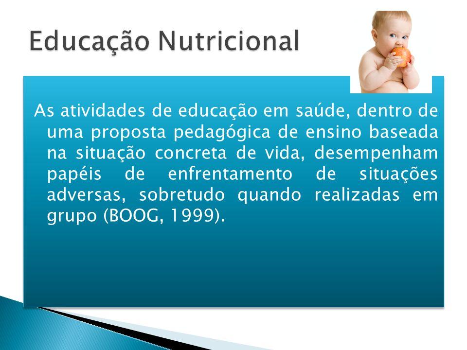 As atividades de educação em saúde, dentro de uma proposta pedagógica de ensino baseada na situação concreta de vida, desempenham papéis de enfrentame