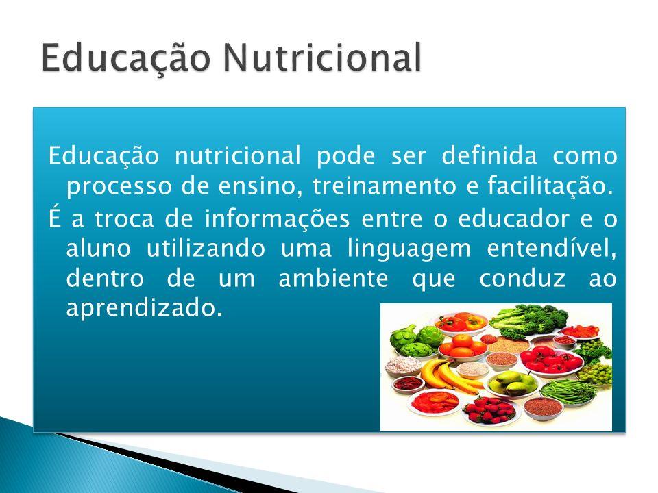 Educação nutricional pode ser definida como processo de ensino, treinamento e facilitação. É a troca de informações entre o educador e o aluno utiliza